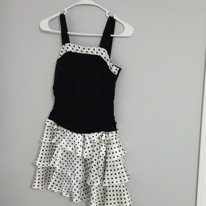 Short black and white polka-dot dress